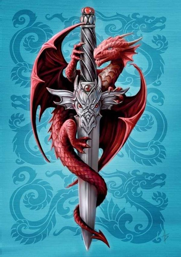 ANNE STOKES Dragon and Dagger Greeting Card